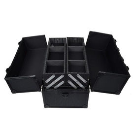 Black Aluminum Makeup Cosmetic Jewelry Storage Case Box Lockable w Tiers Strap
