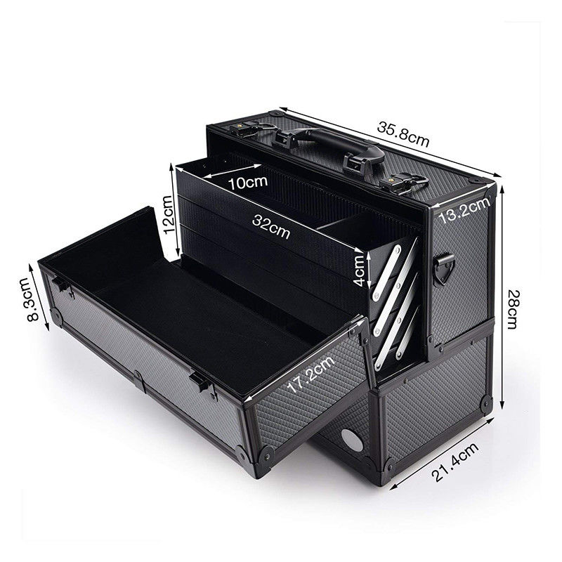 Adjustable Aluminum Makeup Vanity Case , Makeup Storage Organizer Box
